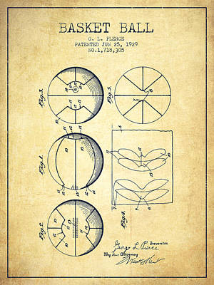 Basket Ball Drawing - 1929 Basket Ball Patent - Vintage by Aged Pixel