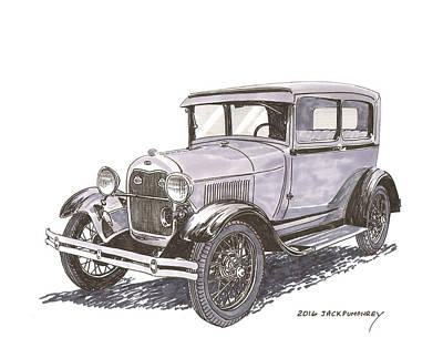 1929 Drawing - 1929 Ford Model A 2 Door Sedan by Jack Pumphrey