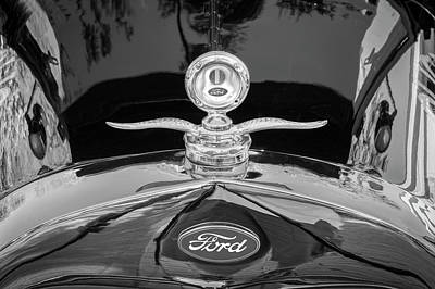 Photograph - 1929 Ford Model A Hood Ornament Bw by Rich Franco