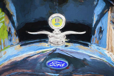 1929 Ford Model A Hood Ornament Painted Art Print by Rich Franco