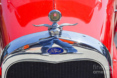 Photograph - 1929 Ford Phaeton Classic Antique Car Emblem In Color 3504.02 by M K  Miller