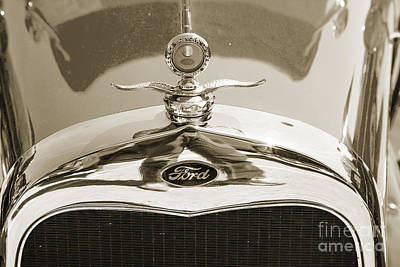 Photograph - 1929 Ford Phaeton Classic Antique Car Emblem In Sepia3504.01 by M K Miller