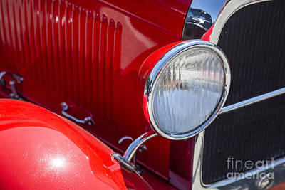 Vintage Car Photograph - 1929 Ford Phaeton Classic Antique Car Headlight In Color 3507.02 by M K  Miller