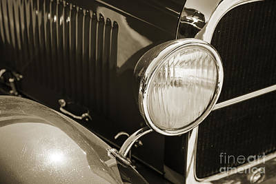 Photograph - 1929 Ford Phaeton Classic Antique Car Headlight In Sepia 3507.01 by M K Miller