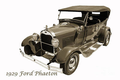 Photograph - 1929 Ford Phaeton Classic Antique Car On White Photograph 3500.0 by M K Miller
