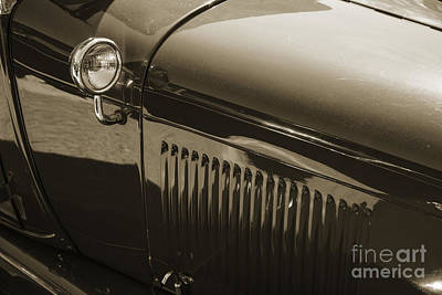 Photograph - 1929 Ford Phaeton Classic Antique Car Side Mirror In Sepia 3506. by M K  Miller