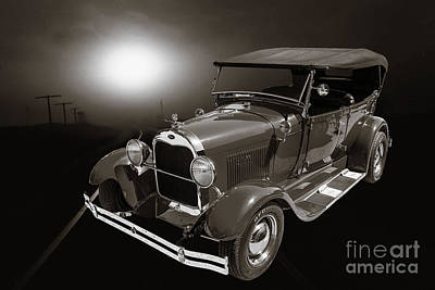 Photograph - 1929 Ford Phaeton Classic Antique Car With Train In Sepia  3502. by M K  Miller