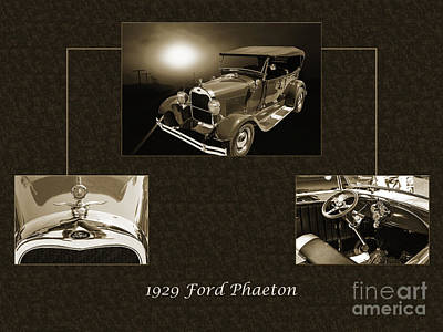 Photograph - 1929 Ford Phaeton Classic Car Antique Collage In Red Sepia 3515. by M K  Miller