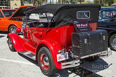 Photograph - 1929 Ford Phaeton Classic Car Back Side Trunk Antique In Color 3 by M K Miller