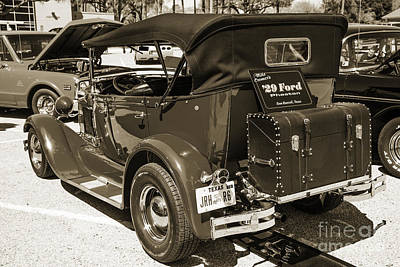 Photograph - 1929 Ford Phaeton Classic Car Back Side Trunk Antique In Sepia 3 by M K Miller