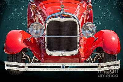 Photograph - 1929 Ford Phaeton Classic Car Front End Antique In Red Color 351 by M K  Miller