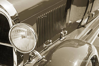 Photograph - 1929 Ford Phaeton Classic Car Headlight Antique In Sepia 3508.01 by M K  Miller