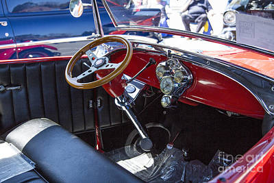 Photograph - 1929 Ford Phaeton Classic Car Interior Antique In Color 3509.02 by M K  Miller
