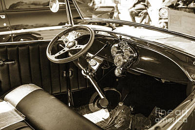 Photograph - 1929 Ford Phaeton Classic Car Interior Antique In Sepia 3509.01 by M K Miller