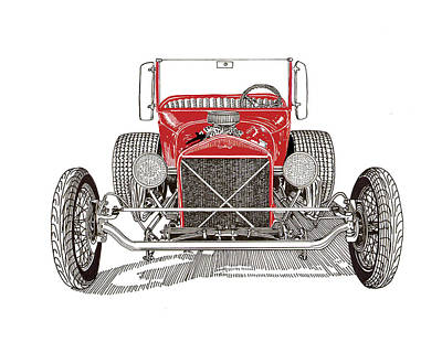 Drawing - 1929 Ford T Bucket Hot Rod by Jack Pumphrey