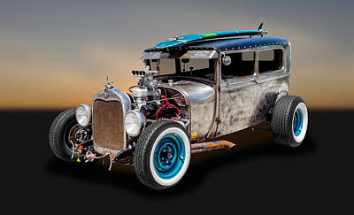 Photograph - 1929 Ford Tudor Sedan Rat Rod   -   29fdrr77 by Frank J Benz