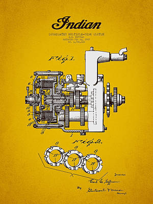 Keith Richards - 1929 Indian Motorcycle Patent - Yellow Brown by Aged Pixel