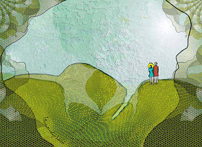Up The Hill Digital Art - 1929 - We Walked Up The Highest Hill And Now 2017 by Irmgard Schoendorf Welch