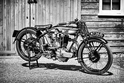 Photograph - 1929 Norton 490cc Model 18 Monochrome by Tim Gainey