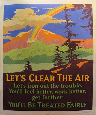 1929 Original Motivational Poster, Let's Clear The Air, Mather Work Incentive Original by Mather Work