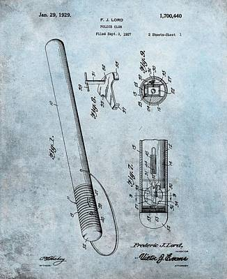 Drawing - 1929 Police Club Patent by Dan Sproul
