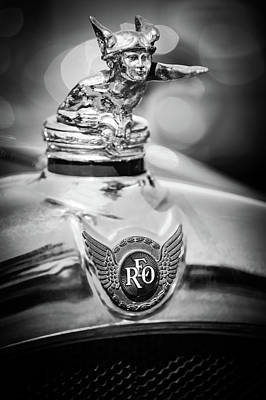 Photograph - 1929 Reo Flying Cloud Master Sport Roadster Hood Ornament - Emblem -0826bw by Jill Reger