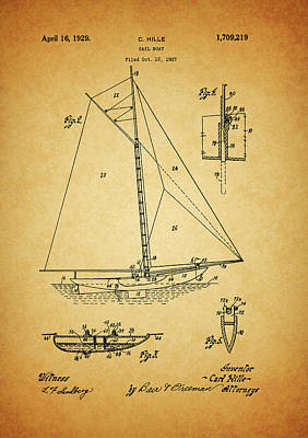 Pirate Ship Mixed Media - 1929 Sailboat Patent by Dan Sproul
