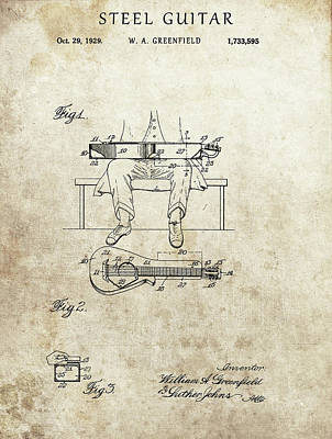 Drawing - 1929 Steel Guitar Patent by Dan Sproul