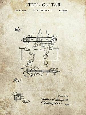Musicians Drawings - 1929 Steel Guitar Patent by Dan Sproul