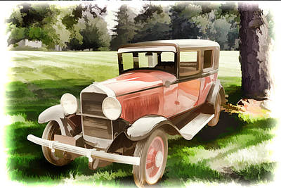 Painting - 1929 Willys Knight Vintage Classic Car Automobile Painting Fine  by M K  Miller