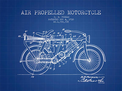 Bike Drawing - 1930 Air Propelled Motorcycle Patent - Blueprint by Aged Pixel