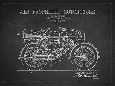 Bike Drawing - 1930 Air Propelled Motorcycle Patent - Charcoal by Aged Pixel