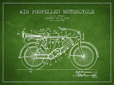 Bike Drawing - 1930 Air Propelled Motorcycle Patent - Green by Aged Pixel
