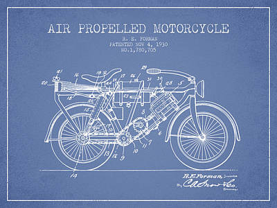 Bike Drawing - 1930 Air Propelled Motorcycle Patent - Light Blue by Aged Pixel