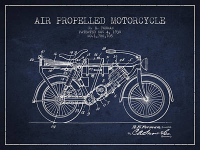 Bike Drawing - 1930 Air Propelled Motorcycle Patent - Navy Blue by Aged Pixel