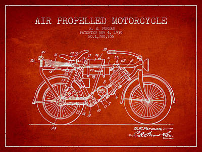 Bike Drawing - 1930 Air Propelled Motorcycle Patent - Red by Aged Pixel