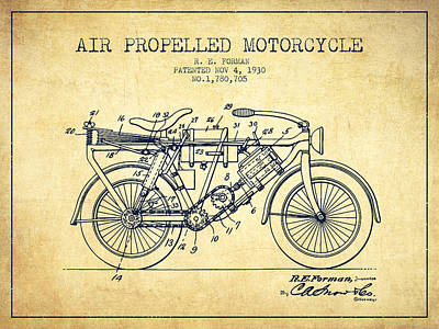 Bike Drawing - 1930 Air Propelled Motorcycle Patent - Vintage by Aged Pixel