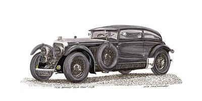 Painting - 1930 Bentley Blue Train Coupe by Jack Pumphrey