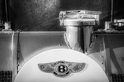 Photograph - 1930 Bentley Speed Six Emblem -0275bw by Jill Reger