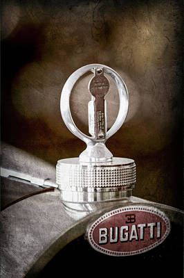 Bugatti Vintage Car Photograph - 1930 Bugatti Type 43 Supercharged Sports Emblem - Moto Meter -1803ac by Jill Reger