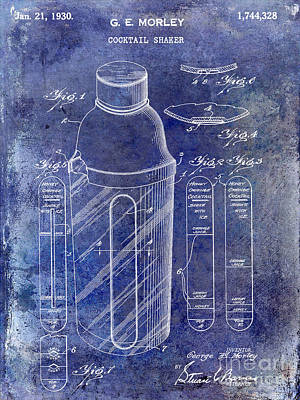 1930 Cocktail Shaker Patent Blue Art Print