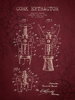 1930 Cork Extractor Patent - Red Wine Art Print by Aged Pixel
