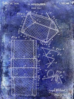 Crab Traps Photograph - 1930 Crab Trap Patent Blue by Jon Neidert