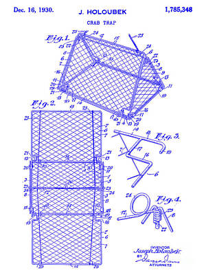 Crab Traps Photograph - 1930 Crab Trap Patent Blueprint by Jon Neidert