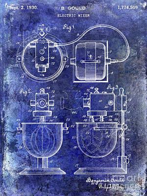 Hobart Photograph - 1930 Electric Mixer Patent Blue by Jon Neidert