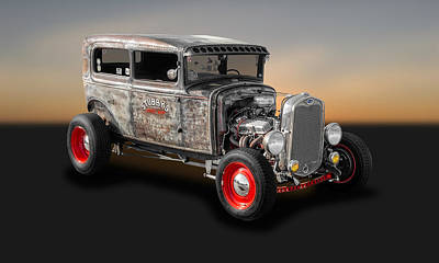 Photograph - 1930 Ford 2-door Sedan Rat Rod  -  30fd2drsd500 by Frank J Benz