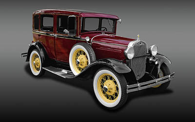 1930 Ford Model A Fordor Town Sedan  -  1930ford2dsedfa9869 Art Print
