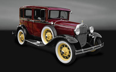 Model A Sedan Photograph - 1930 Ford Model A Fordor Town Sedan  -  30fordsedgry9869 by Frank J Benz