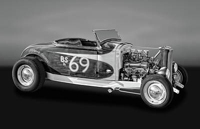 Photograph - 1930 Ford Rat Rod Roadster  -  30-32frdrbw070 by Frank J Benz