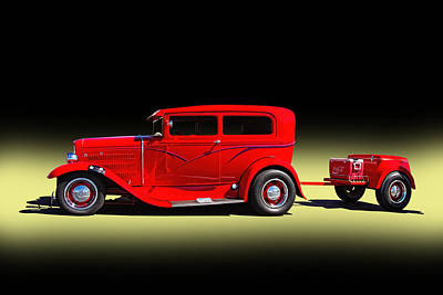 1930 Red Ford Sedan With Trailer Art Print by Nick Gray